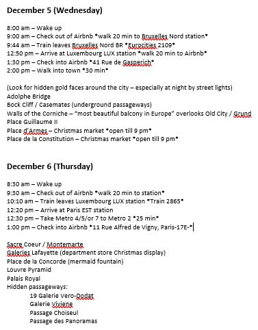 dec 2018 - sample itinerary