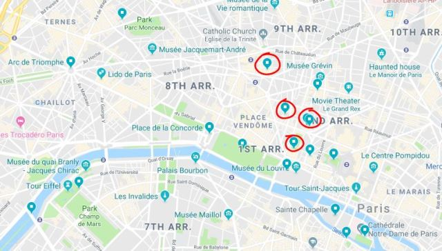 google maps - saved list paris